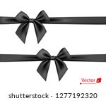 black bow with ribbon. vector. | Shutterstock .eps vector #1277192320