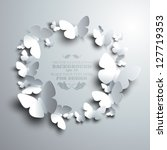 Stock vector  wreath made of white paper butterflies with free space for your text in the middle 127719353