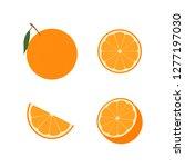 set of orange fruit   half  ...   Shutterstock .eps vector #1277197030