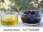 olives  olive oil and olive... | Shutterstock . vector #1277200489