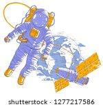 spaceman flying in open space... | Shutterstock .eps vector #1277217586