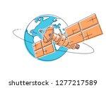 communication satellite flying... | Shutterstock .eps vector #1277217589
