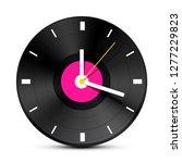clock on vector vinyl record lp ... | Shutterstock .eps vector #1277229823