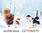 winter drink iced coffee in a...