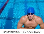 competitive male swimmer... | Shutterstock . vector #1277231629