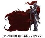 medieval knight with long sword ... | Shutterstock . vector #1277249680