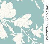 magnolia flowers leaves tree... | Shutterstock .eps vector #1277254603