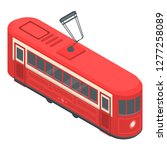 red tram car icon. isometric of ... | Shutterstock .eps vector #1277258089