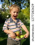smiling boy picking apples from ... | Shutterstock . vector #1277282629