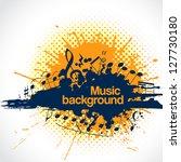 musical notes making a blot  as ... | Shutterstock . vector #127730180