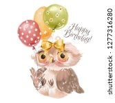 Stock photo cute hand drawn baby princess owl with floral wreath bouquet flowers and tied bow and balloons 1277316280