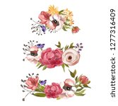 beautiful hand drawn flowers ... | Shutterstock . vector #1277316409