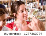 woman at wine tasting with... | Shutterstock . vector #1277363779