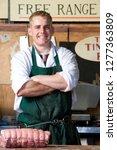 portrait of butcher wearing... | Shutterstock . vector #1277363809