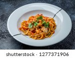 udon noodles with seafood | Shutterstock . vector #1277371906