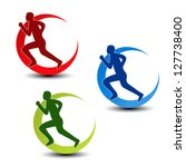 Vector circular symbol of fitness - runner silhouette, sport symbol, icon