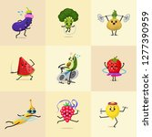 set of sports fruit characters. ... | Shutterstock .eps vector #1277390959