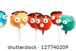 six cake pops with funny faces ...   Shutterstock . vector #127740209