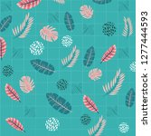 pattern with tropical jungle... | Shutterstock .eps vector #1277444593