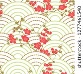 cherry blossom and wave pattern ... | Shutterstock .eps vector #1277461540