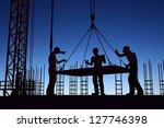 the group of workers working at ... | Shutterstock . vector #127746398