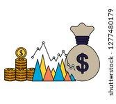 business money bag coins chart... | Shutterstock .eps vector #1277480179