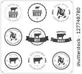 set of premium beef labels ... | Shutterstock .eps vector #127748780