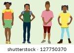 black elementary school girls | Shutterstock .eps vector #127750370