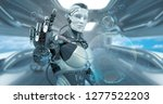 robot on futuristic background  ... | Shutterstock . vector #1277522203