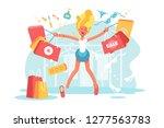 cartoon happy blonde with... | Shutterstock .eps vector #1277563783