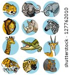 icons set with wild animals of... | Shutterstock .eps vector #127762010