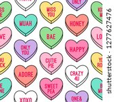 Colorful heart candy seamless pattern background. Set of conversation sweets for valentine's day.