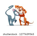 Stock vector cartoon cat and dog playing together like two best friends vector illustration 1277639563