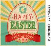 Easter Vintage Card. Vector...