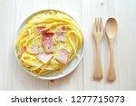 close up of spaghetti carbonara ... | Shutterstock . vector #1277715073