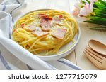 close up of spaghetti carbonara ... | Shutterstock . vector #1277715079