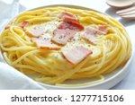 close up of spaghetti carbonara ... | Shutterstock . vector #1277715106