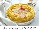 close up of spaghetti carbonara ... | Shutterstock . vector #1277715109