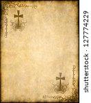 christian cross on old paper or ... | Shutterstock . vector #127774229