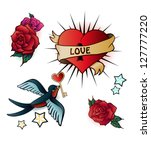 doodle tattoo style set. | Shutterstock .eps vector #127777220