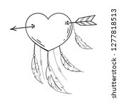 heart with feathers pierced... | Shutterstock .eps vector #1277818513