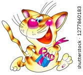 striped red cat with a gift. | Shutterstock . vector #1277860183