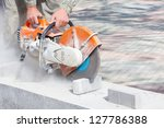cutting concrete paving stabs... | Shutterstock . vector #127786388