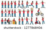a large set of poses for a man...   Shutterstock . vector #1277868406