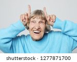 grey haired old nice beautiful... | Shutterstock . vector #1277871700