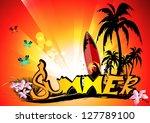 summer background with surfboard | Shutterstock .eps vector #127789100