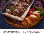 homemade pulled pork with... | Shutterstock . vector #1277894680