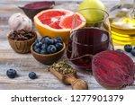 assortment of foods for healthy ... | Shutterstock . vector #1277901379