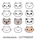 kawaii style cute animal faces... | Shutterstock .eps vector #1277908339