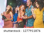 happy friends doing party... | Shutterstock . vector #1277911876